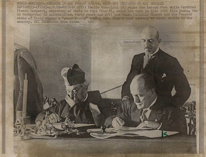 Benito Mussolini Signing Lateran Pact