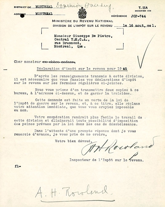 Letter from A H  Rowland (in french), to Giuseppe Di Pietro